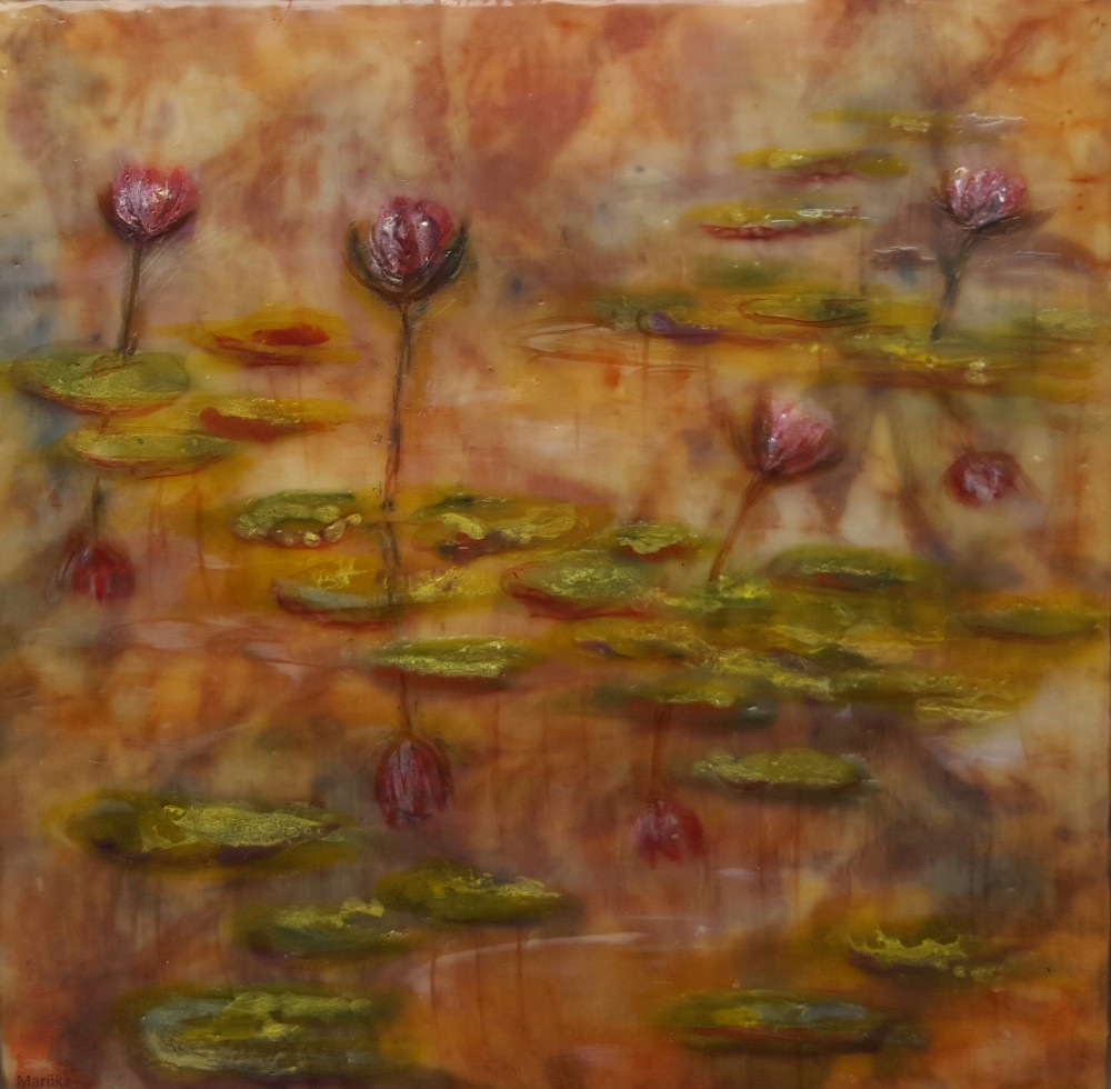 Water Lilies - pink by Marijke Gilchrist