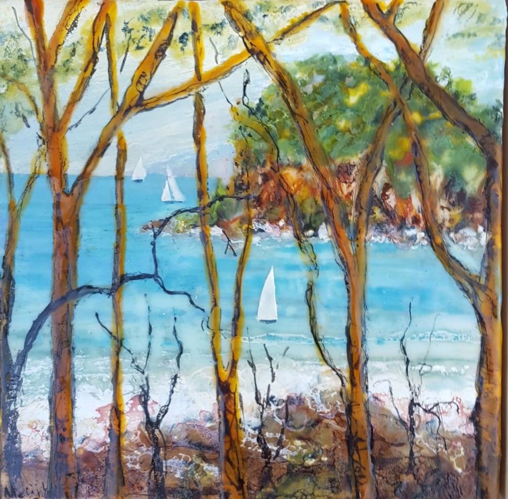 Sails on Broken Bay NSW by Marijke Gilchrist